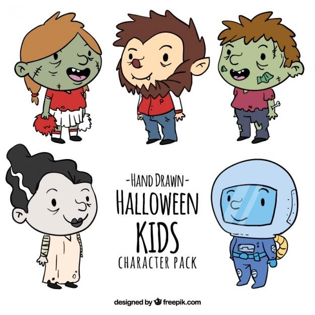 Von Hand gezeichnet Halloween-Kinder-Kollektion   Download der ...