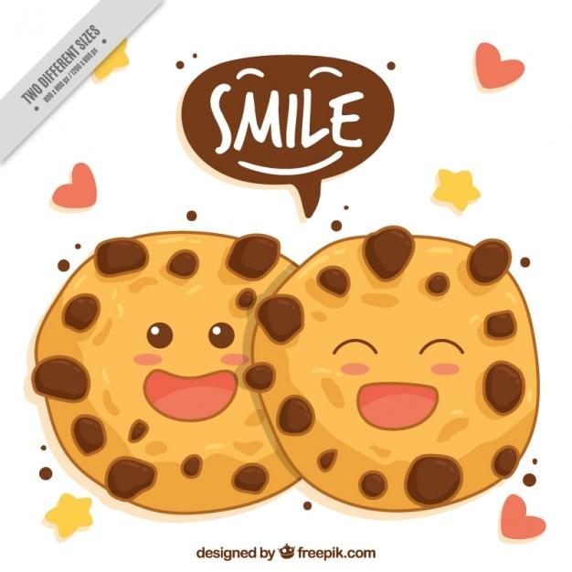 Von hand gezeichnet hintergrund der lächelnden cookies Kostenlosen Vektoren