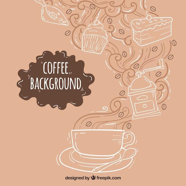 Von hand gezeichnet hintergrund mit kaffeetasse und süßigkeiten Kostenlosen Vektoren
