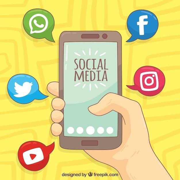 Von Hand gezeichnet Hintergrund mit mobilen und sozialen Netzwerk-Icons Kostenlose Vektoren