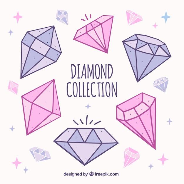 Von hand gezeichnet sammlung von edelsteinen in rosa und lila tönen Kostenlosen Vektoren
