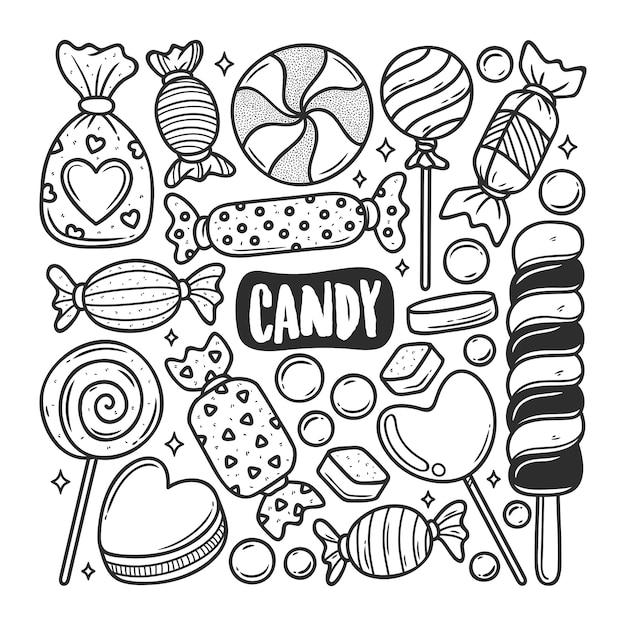 Von hand gezeichnete doodle-färbung der süßigkeiten-symbole Kostenlosen Vektoren