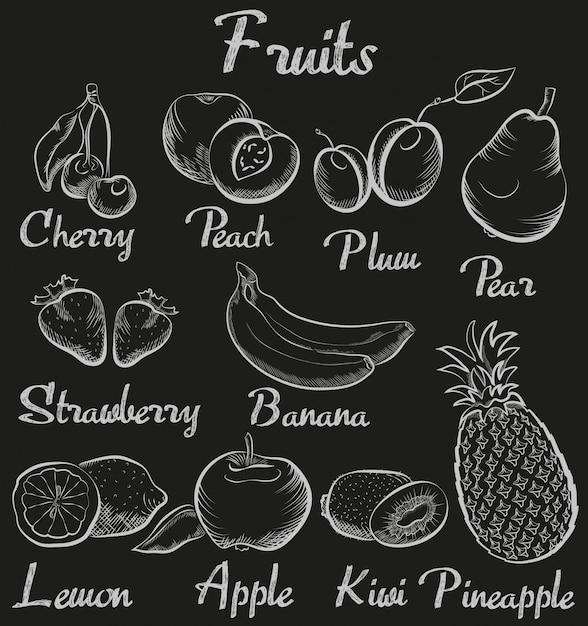 Von hand gezeichnete kreidetafelfrüchte der weinlese Premium Vektoren