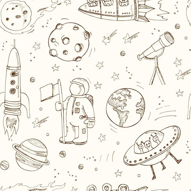 Von hand gezeichnete kritzeleien der karikatur zum thema des nahtlosen raummusters. Premium Vektoren