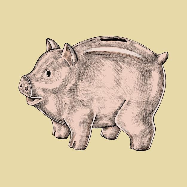 Von hand gezeichnete sparschweinillustration Premium Vektoren