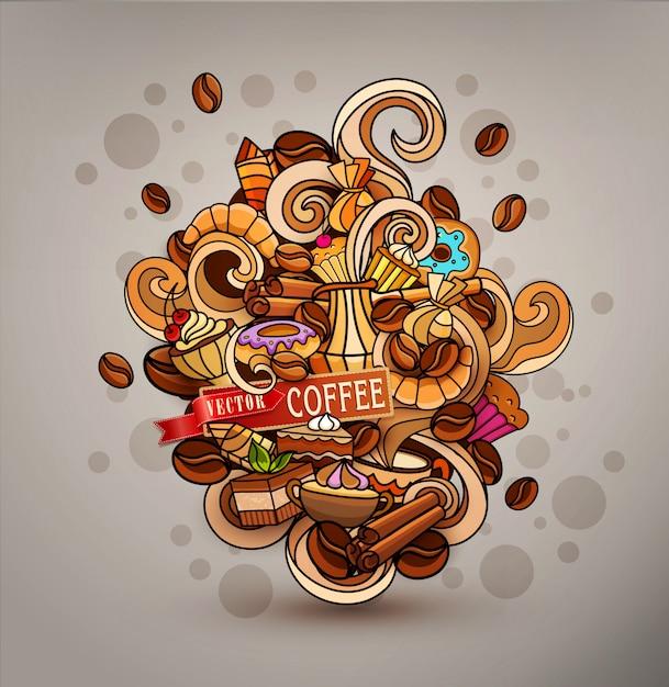 Von hand gezeichnete vektorgekritzel auf einem kaffeethema Premium Vektoren