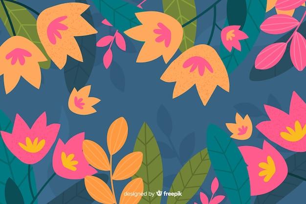 Von hand gezeichneter tulpenhintergrund mit blättern Kostenlosen Vektoren