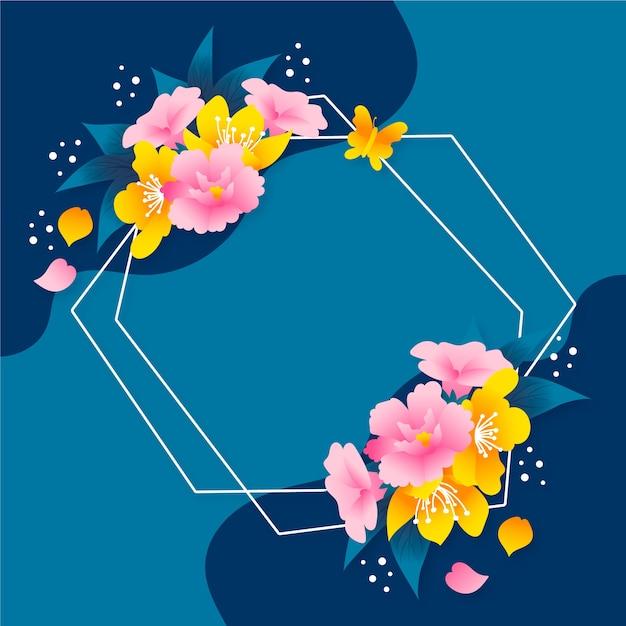 Von hand gezeichnetes frühlingsblumenrahmenkonzept Kostenlosen Vektoren