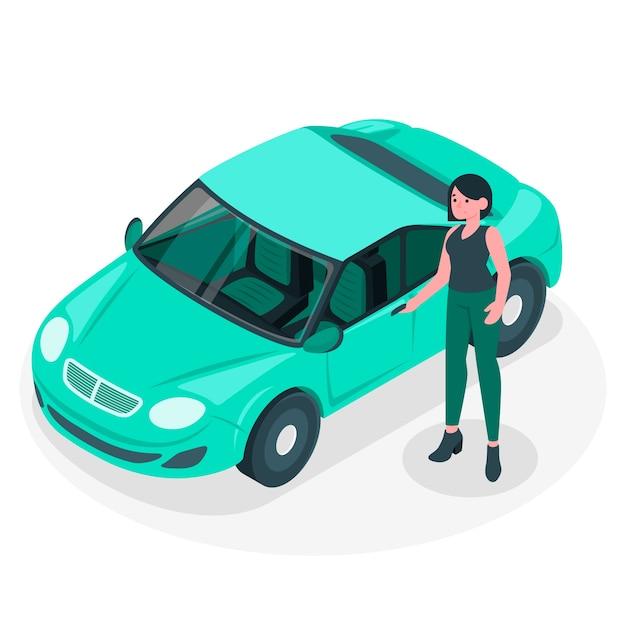 Von meinem auto illustration konzept Kostenlosen Vektoren