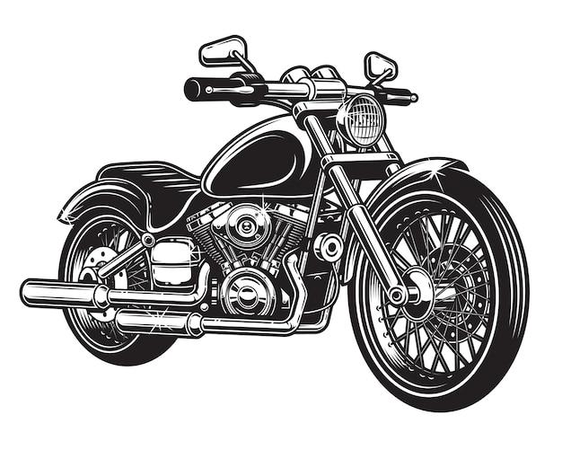 Von motorrad isoliert auf weißem hintergrund. monochromer stil. Kostenlosen Vektoren