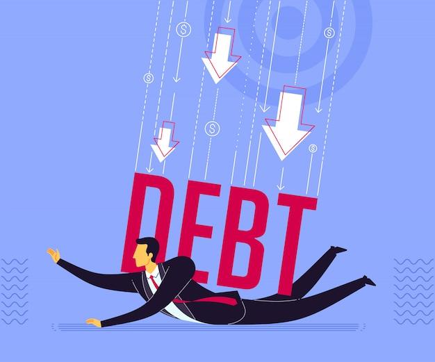 Von schulden unter druck gesetzt werden Premium Vektoren