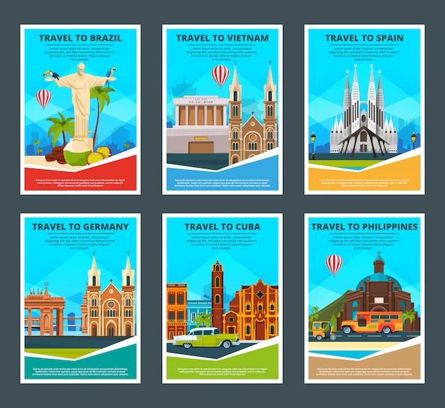Von verschiedenen reisekarten von berühmten sehenswürdigkeiten Premium Vektoren