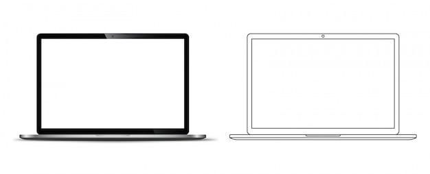 Vor einem notebook-laptop Premium Vektoren