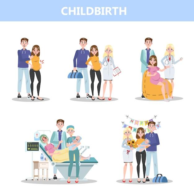 Vorbereitung auf das krankenhaus vor der geburt des babys. frau gebiert und glückliche familie hält neugeborenes. illustration Premium Vektoren
