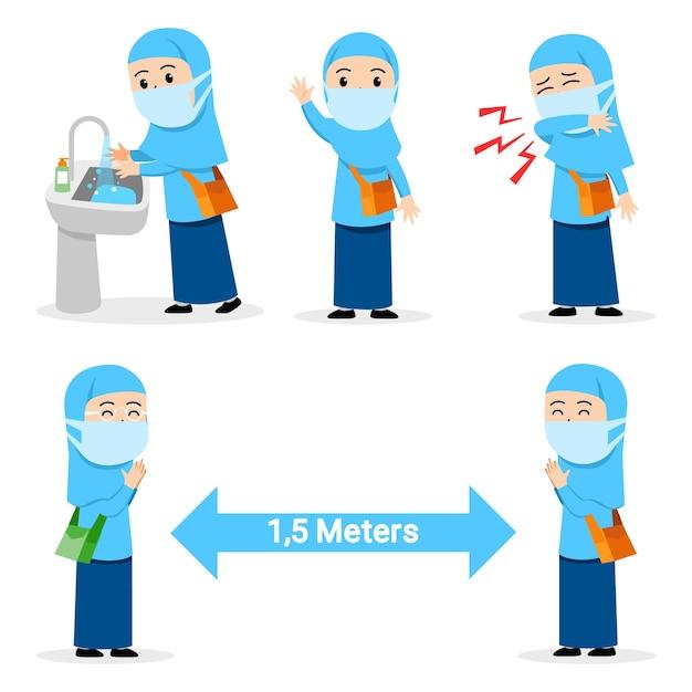 Vorbeugender grippeakt, der von einer muslimischen studentin verbreitet wird Premium Vektoren