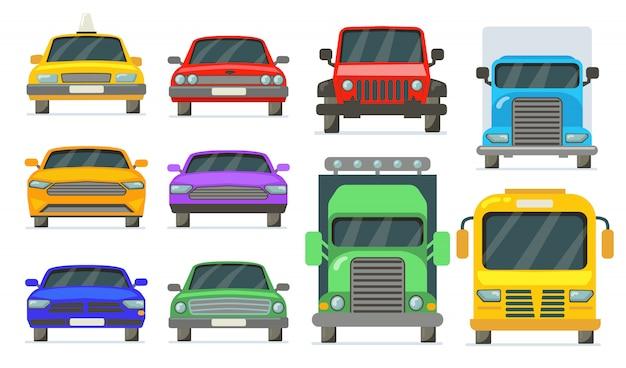 Vorderansicht der fahrzeuge eingestellt Kostenlosen Vektoren