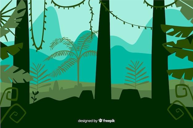Vorderansicht der tropischen waldbaumlandschaft Kostenlosen Vektoren