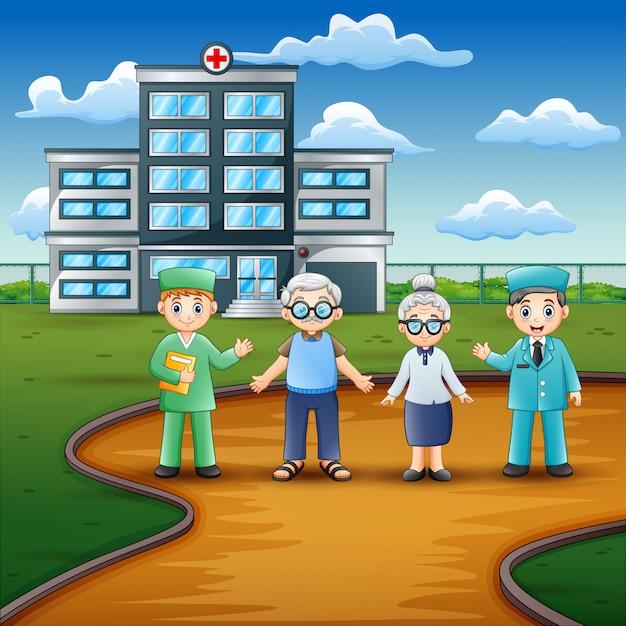 Vorderansicht des krankenhauses mit doktoren und älterem patienten Premium Vektoren