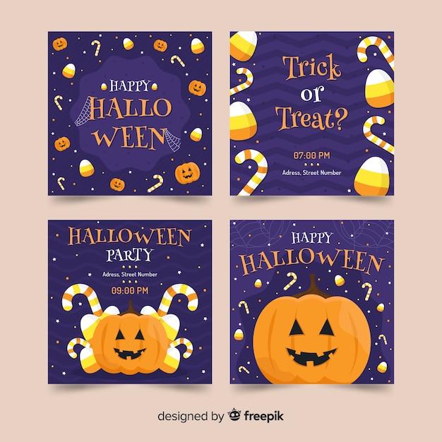 Vorderansicht kürbis halloween instagram geschichten sammlung Kostenlosen Vektoren