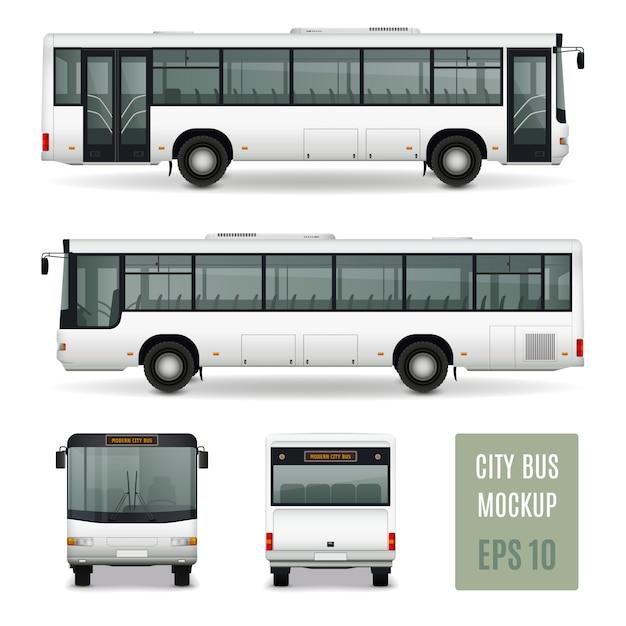 Vorderansicht und rückseite der modernen werbe-schablone des stadtbus realistische vorderansicht auf weißem hintergrund lokalisierte vektorillustration Kostenlosen Vektoren