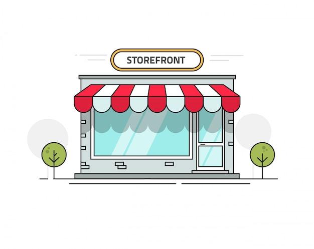 Vorderansichtvektorillustrationslinie entwurfsart des speichers oder des shops Premium Vektoren
