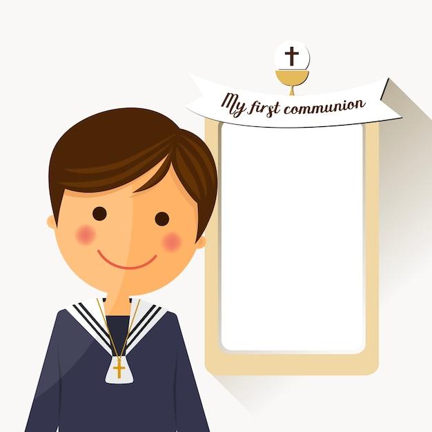 Vordergrundkind der ersten kommunion mit mitteilung Premium Vektoren