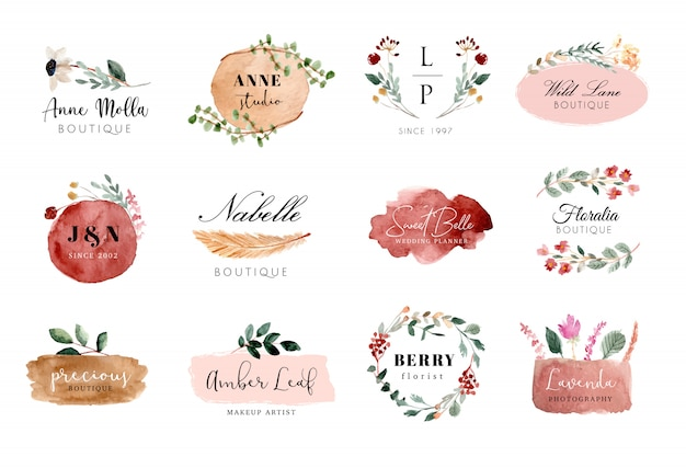 Vorgefertigte logo-blumen- und pinselstrich-aquarell-kollektion Premium Vektoren