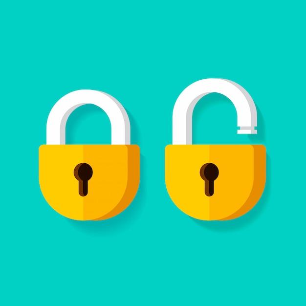 Vorhängeschlösser oder offener verschluss und geschlossene ikonen des verschlusses lokalisierten clipart Premium Vektoren