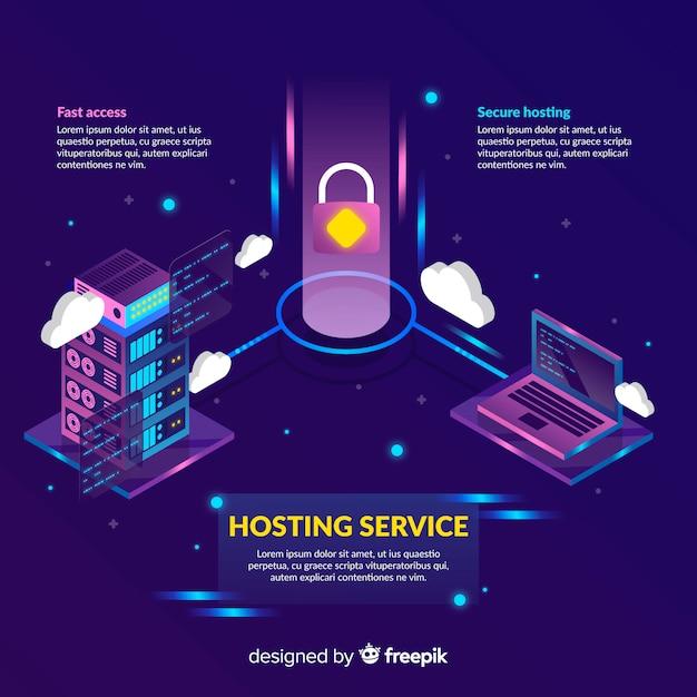 Vorhängeschloss-hosting-service-hintergrund Kostenlosen Vektoren