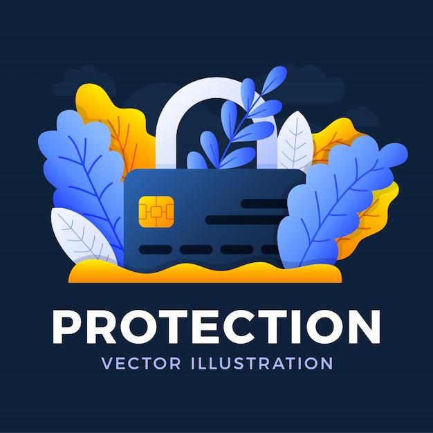 Vorhängeschloß mit der kreditkartenvektorillustration lokalisiert. das konzept des schutzes, der sicherheit und der zuverlässigkeit eines bankkontos. vorderseite der karte mit geschlossenem schloss. Premium Vektoren
