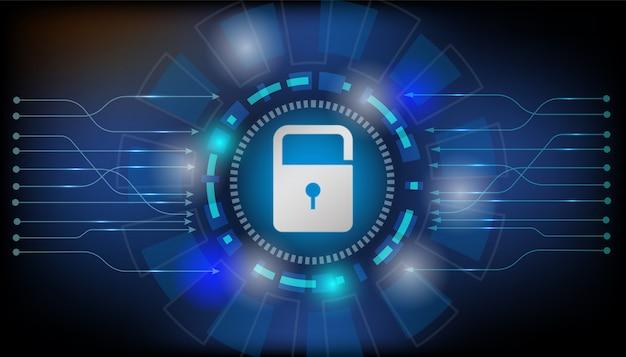 Vorhängeschloss mit schlüsselloch internet-sicherheitskonzept Premium Vektoren