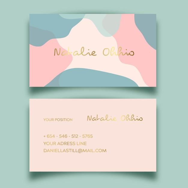 Vorlage abstrakte visitenkarte mit pastellfarbenen fleck Kostenlosen Vektoren