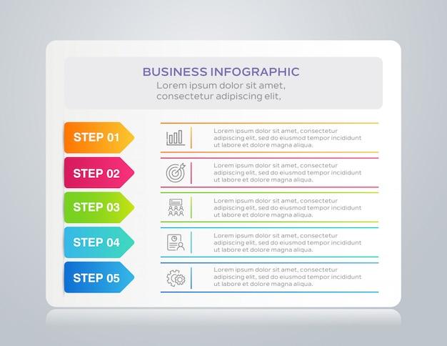 Vorlage business infografik mit 5 schritten Premium Vektoren