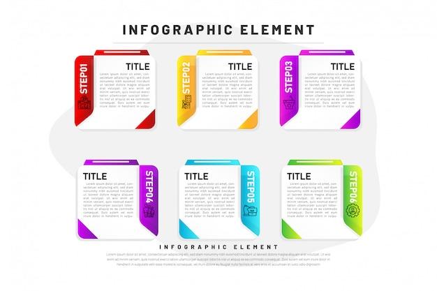 Vorlage business infographik farbverlauf mit element 6 schritt Premium Vektoren