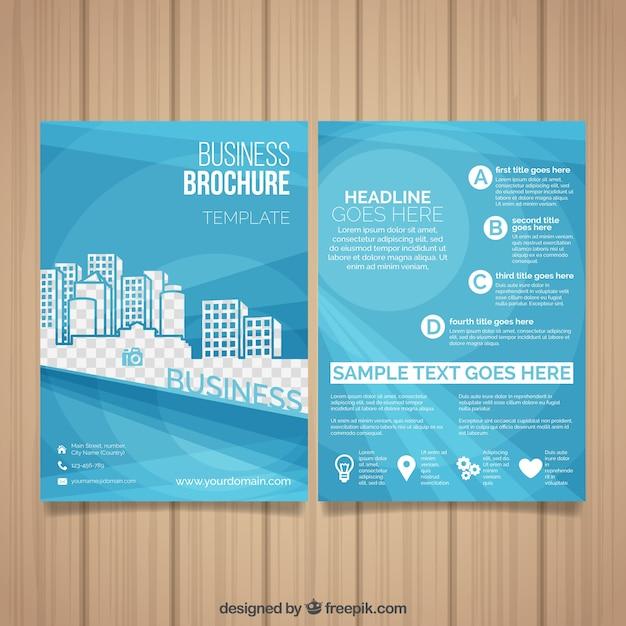Vorlage der business-broschüre mit dekorativen gebäuden Kostenlosen Vektoren