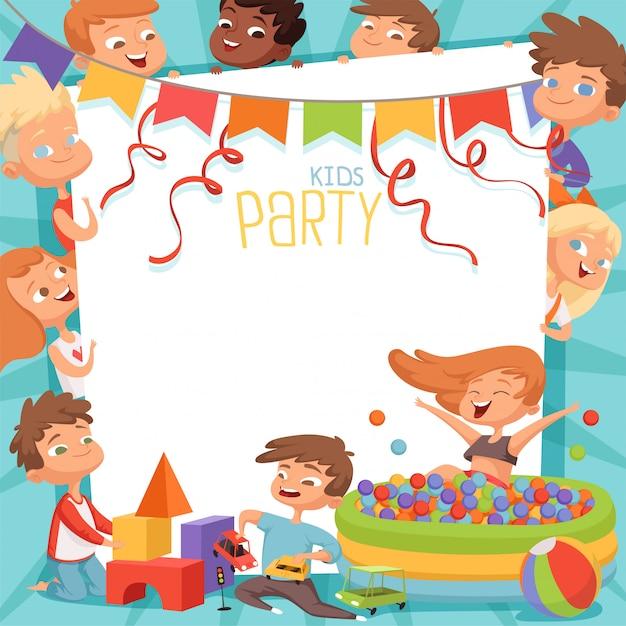 Vorlage der kinder-party-einladung Premium Vektoren