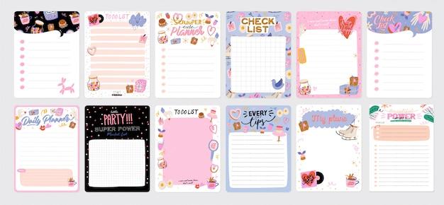 Vorlage für agenda, planer, checklisten und anderes kinderbriefpapier. . Premium Vektoren