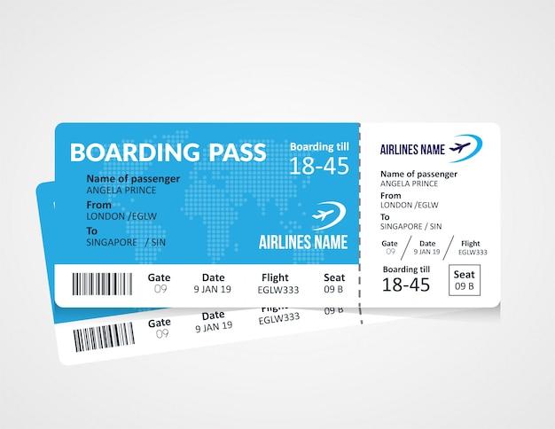 Vorlage für bordkartenticket der fluggesellschaft Premium Vektoren