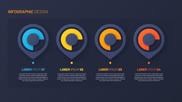 Vorlage für bunte infografikschritte Premium Vektoren