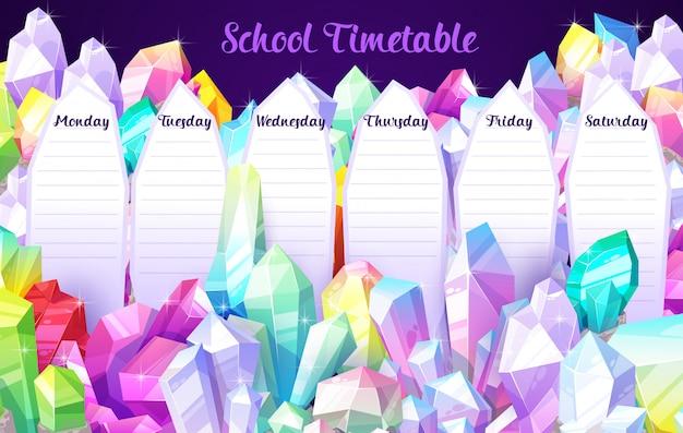 Vorlage für den stundenplan der schule mit kristalledelsteinen, edelsteinen und juwelensteinen. bildung wöchentlicher stundenplan mit edelsteinen. schulzeitplan mit schmuck und magischen kristallen Premium Vektoren