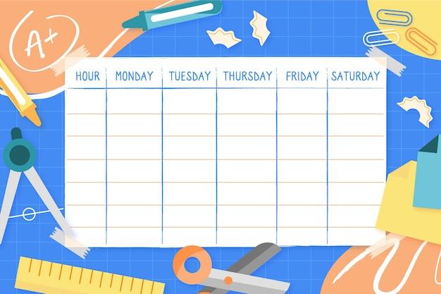 Vorlage für den stundenplan für den schulanfang Kostenlosen Vektoren
