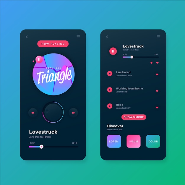 Vorlage für die benutzeroberfläche der musik-player-app