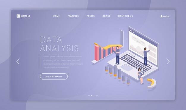 Vorlage für die finanzdatenanalyse-zielseite Premium Vektoren