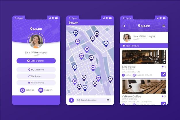Vorlage für die mobile app des standorts Kostenlosen Vektoren