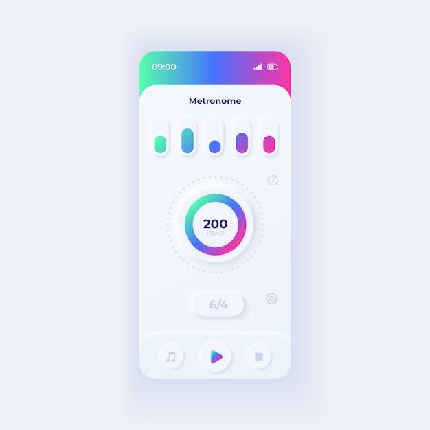 Vorlage für die smartphone-oberfläche der metronom-anwendung. mobile app seitenlicht design layout. bildschirm zur unterstützung des musikalischen rhythmus. benutzeroberfläche für die anwendung. schläge pro minute auf dem telefondisplay. Premium Vektoren