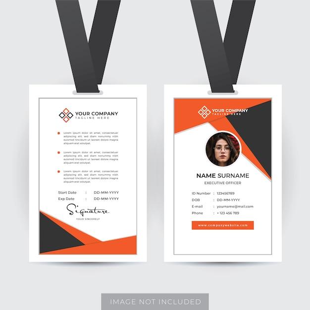 Vorlage für einen professionellen mitarbeiterausweis Premium Vektoren