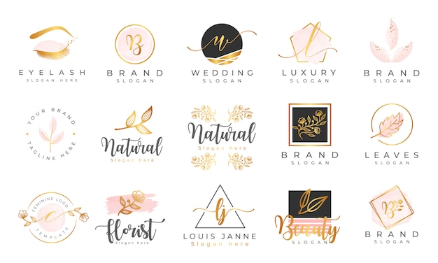 Vorlage für feminine logo-sammlungen Premium Vektoren