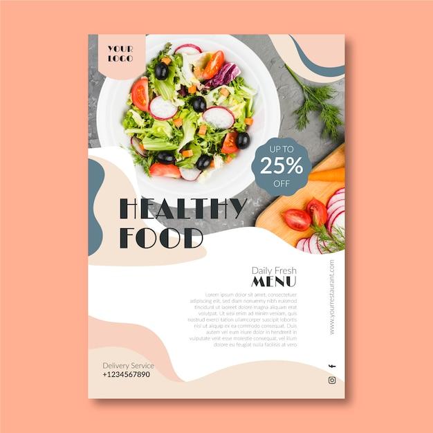 Vorlage für gesunde lebensmittel restaurant flyer mit foto Kostenlosen Vektoren