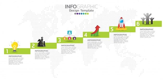Vorlage für infografiken für die zeitachse mit 6 optionen Premium Vektoren