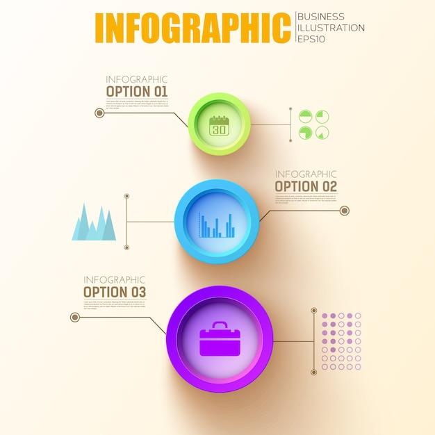 Vorlage für infografikkreise mit bunten runden schaltflächen und geschäftssymbolen Kostenlosen Vektoren